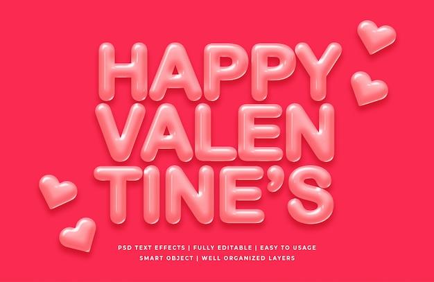 Glückliches textart-effektmodell der valentinsgrüße 3d