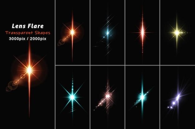 Glühendes licht der linsenfackeln in der isolierten 3d-darstellung