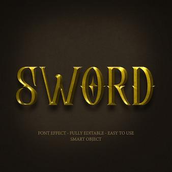 Gold 3d font effect mit bearbeitbaren schichten