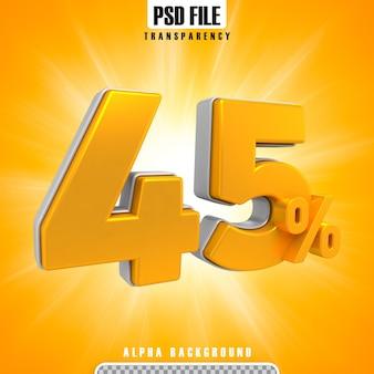 Gold 3d-prozentsätze 45 prozent