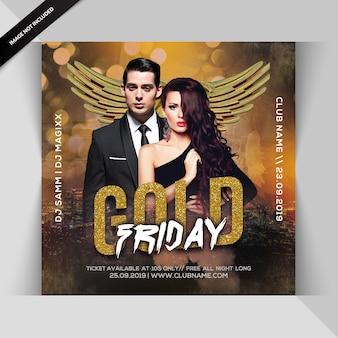 Gold freitag nacht party flyer