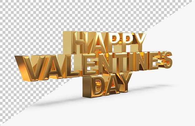 Gold glücklich valentinstag schriftzug 3d rendering isoliert