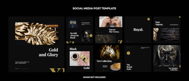 Gold instagram post template set