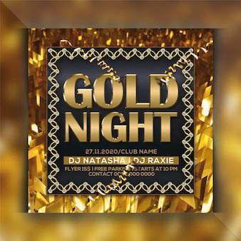 Gold nacht party flyer vorlage