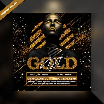 Gold nacht party flyer