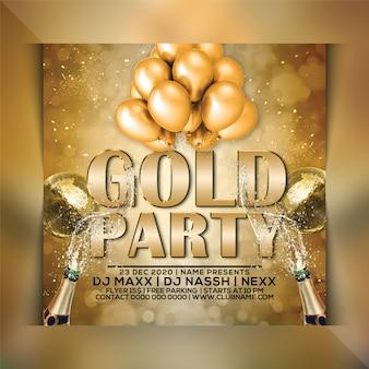 Gold party flyer vorlage