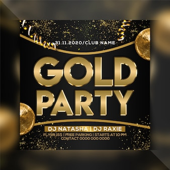 Gold party flyer vorlage