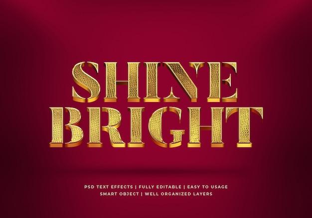 Gold shine bright 3d-textstil-effektvorlage