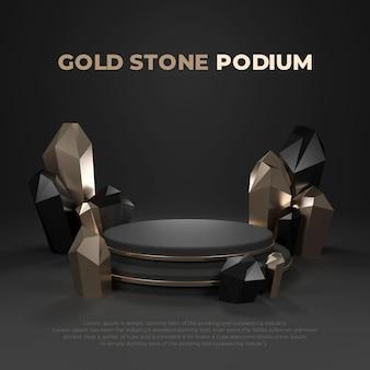 Gold stone 3d realistische podium produkt promo-anzeige