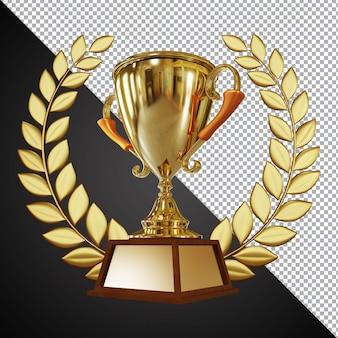 Golden award trophy cup 3d-komposition isoliert