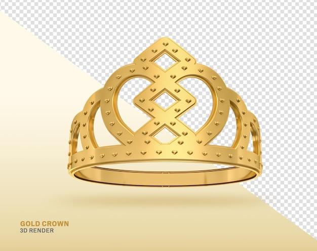 Golden crown 3d-rendering isoliert realistisch