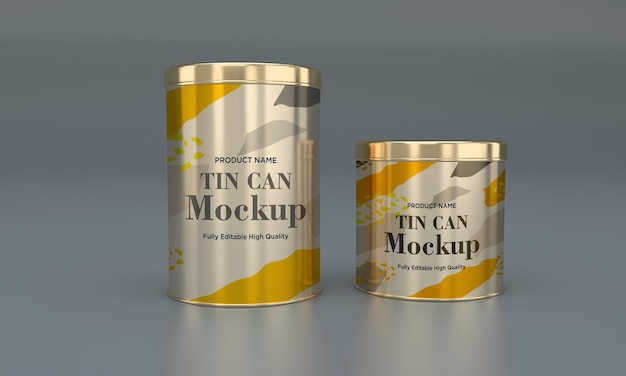 Golden metal food tin verpackungsmodell