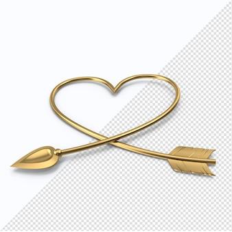 Golden valentine herzpfeil isoliert
