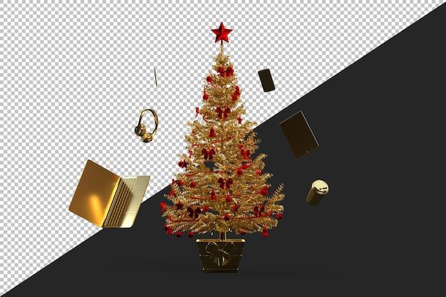 Golden verzierter weihnachtsbaum isoliert