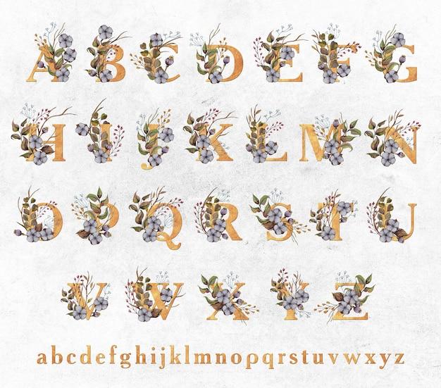 Goldene buchstaben mit aquarellblättern und baumwollblumen
