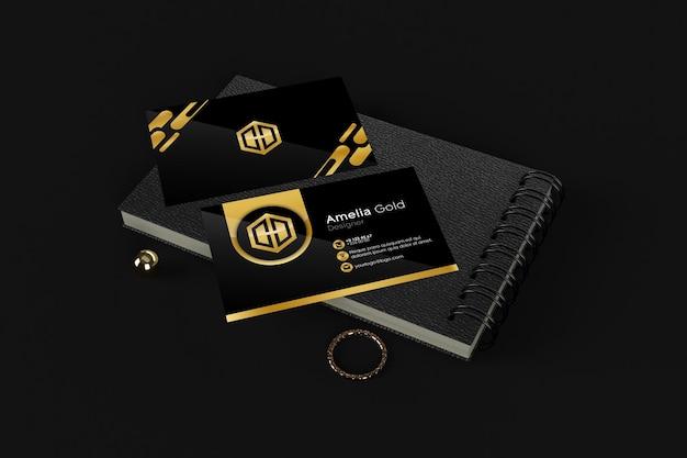 Goldene dekorationen und goldene diamanten goldenes visitenkartenmodell