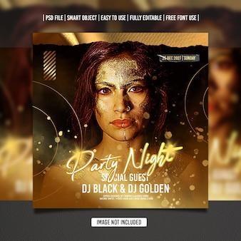 Goldene dj party flyer social media vorlage premium psd