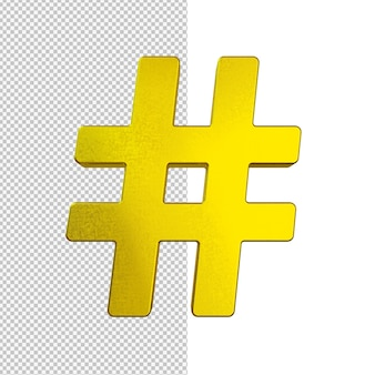 Goldene hashtag isolierte illustration