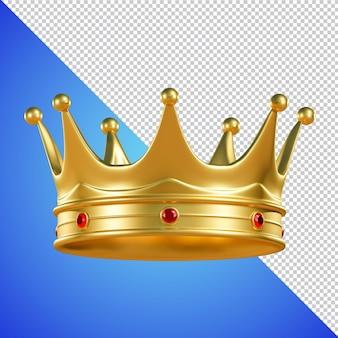 Goldene krone mit edelstein 3d-rendering isoliert