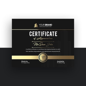 Goldene luxuszertifikatvorlage mit farbverlauf