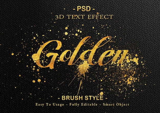 Goldene pinsel-texteffektschablone