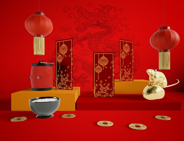 Goldene rattenschüssel reis und chinesische traditionelle gegenstände