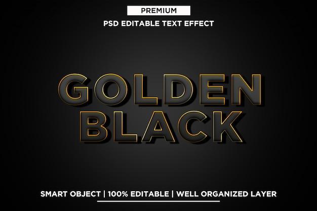 Goldene schwarze effekt-schablone des text-3d