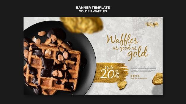Goldene waffeln mit schokoladen- und nussbanner