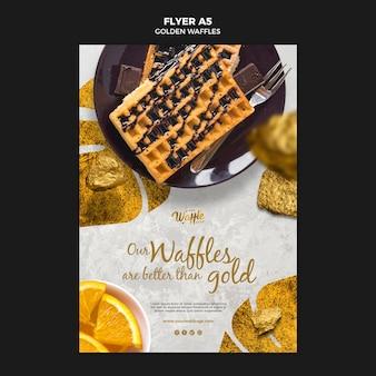 Goldene waffeln mit schokoladenflieger