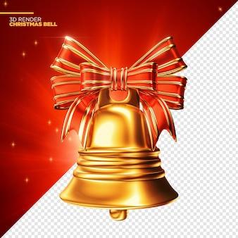 Goldene weihnachtsglocke 3d render isoliert