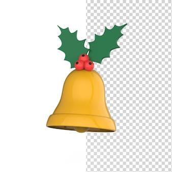 Goldene weihnachtsglocke mit stechpalmenbeeren isoliert auf einem weißen hintergrund 3d-render-modell