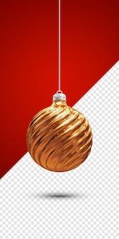 Goldene weihnachtskugel 3d render isoliert