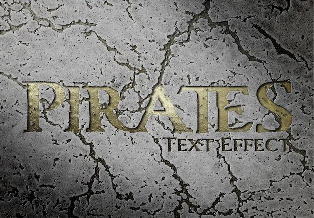 Goldener texteffekt in den felsen mockup geschnitzt