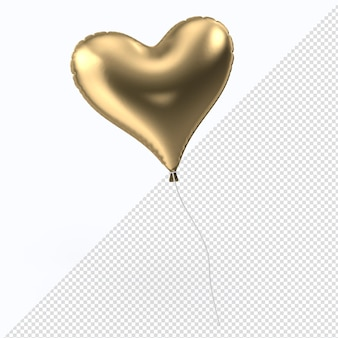 Goldener valentinstag-folienballon-herz isoliert