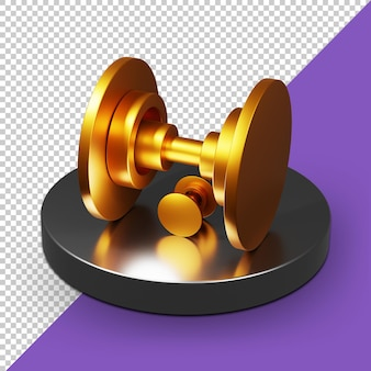 Goldenes 3d-fitnessstudio-symbol alpha-hintergrund psd