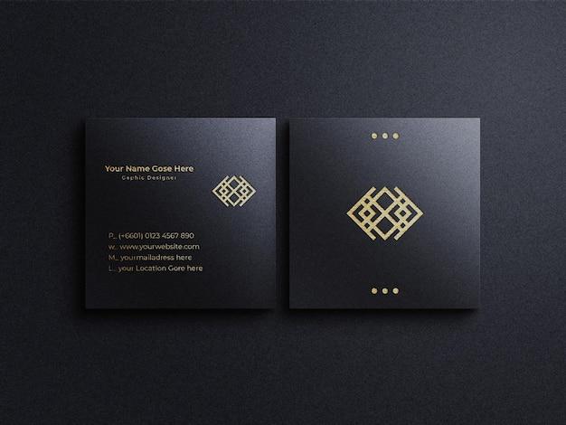 Goldenes folienlogo mit quadratischem visitenkartenmodell und schattenüberlagerung