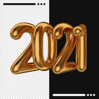 Goldenes neues jahr 2021 im 3d-rendering