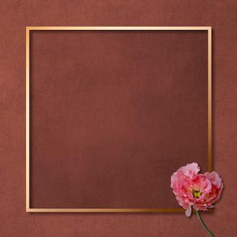 Goldenes quadratisches blumenrahmendesign