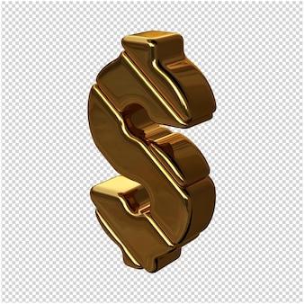 Goldenes symbol aus nach links gedrehten balken auf transparentem hintergrund