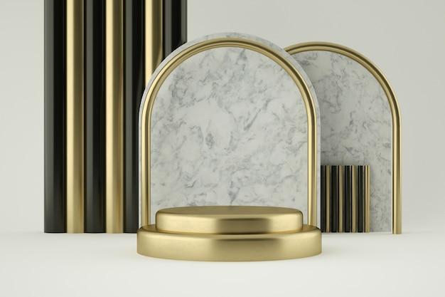 Goldenes und marmor-podium für die produktpräsentation
