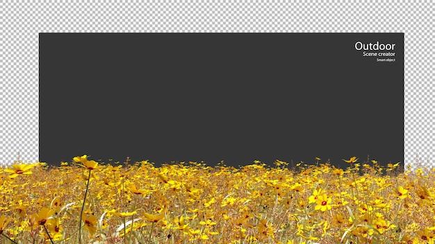 Goldenes wildwiesenfeld in 3d-rendering