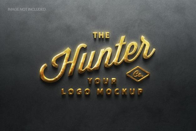 Goldenes zeichen logo mockup