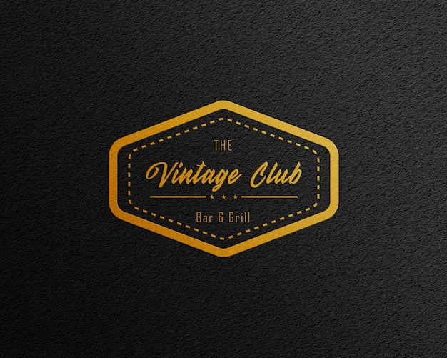 Goldfolie schwarz papier logo mockup