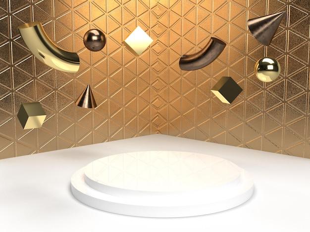 Goldobjektszene des geometrischen abstrakten hintergrundes für produktanzeige-3d-darstellung