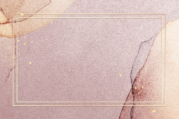 Goldrahmen auf rosa glitzerhintergrundillustration