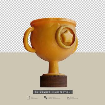 Goldtrophäe im tonstil mit sternsymbol 3d-darstellung