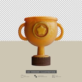 Goldtrophäe im tonstil mit sternsymbol vorderansicht 3d-darstellung