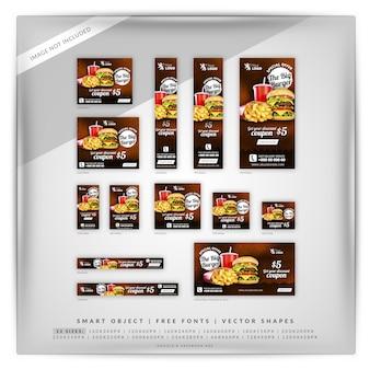 Google banner-set für speisen und restaurants