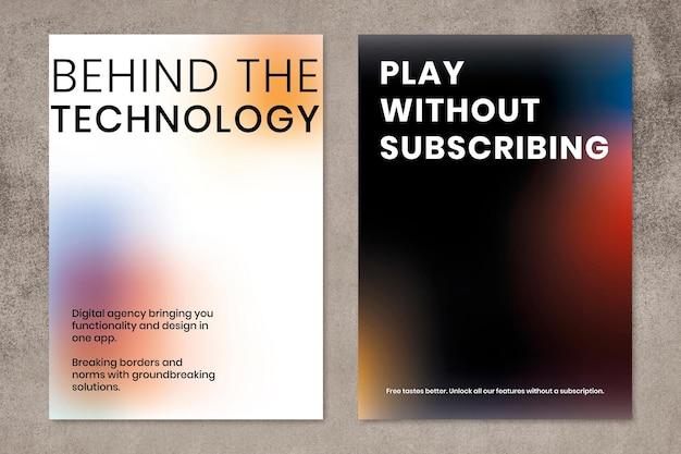 Gradient tech marketing vorlage psd poster dual set