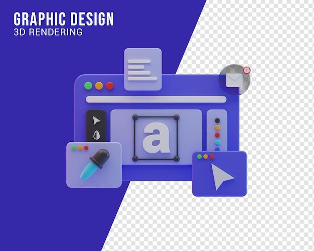 Grafikdesign-workflow-illustrationskonzept, 3d-rendering
